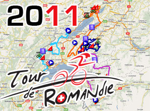 The Tour de Romandie 2011 race route on Google Maps/Google Earth and the route and time schedule