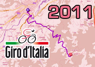 The Giro d'Italia 2011 race route on Google Maps/Google Earth and the route and time schedule