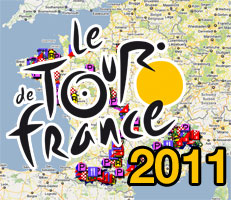 The Tour de France 2011 race route on Google Maps/Google Earth and the route and time schedule