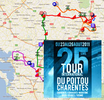 The Tour Poitou-Charentes 2011 race route on Google Maps/Google
