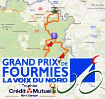 The Grand Prix de Fourmies 2011 race route on Google Maps/Google Earth, the route and time schedule and the participating riders