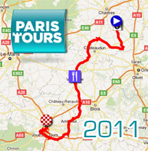 The Paris-Tours 2011 race route on Google Maps/Google Earth and the route and time schedule