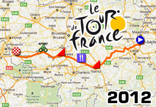 The detailed race course of the 2nd stage of the Tour de France 2012: Visé > Tournai (plus the route on Google Maps)