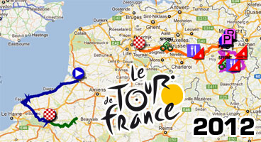 Tour de France 2012: the race course of the first stages on Google Maps/Google Earth