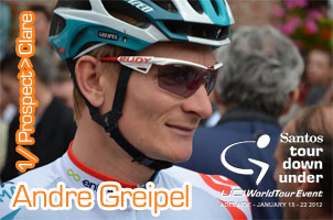 André Greipel sprints to victory in the first stage of the Tour Down Under 2012 (Prospect > Clare)