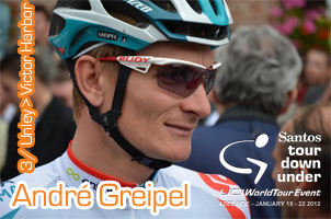 A new stage victory for André Greipel in the Tour Down Under 2012, he also takes back the leader's jersey