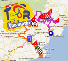 The Tour du Haut Var 2012 race route on Google Maps/Google Earth and the time and route schedules + profiles