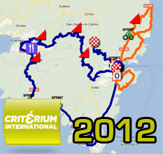 The Critérium International 2012 around Porto-Vecchio: the race route on Google Maps/Google Earth, the profiles and time- and route schedules