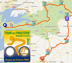Tour du Finistère 2012: the race route on Google Maps, the time- and route schedule and the profile
