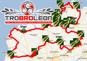 The Tro Bro Léon 2012 race route on Google Maps/Google Earth and the route and time schedule