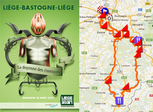 The Liège-Bastogne-Liège 2012 race route on Google Maps/Google Earth, the profile and the time- and route schedule