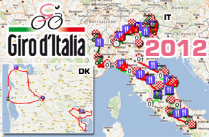 The Giro d'Italia 2012 race route on Google Maps/Google Earth, the profiles and the time- and route schedules