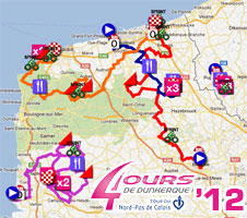 4 Jours de Dunkerque 2012: the race route on Google Maps, the time- and route schedules and the profiles