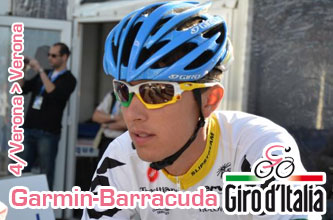 At the team time trial of the Giro, Garmin-Barracuda offers pink to Ramunas Navardauskas