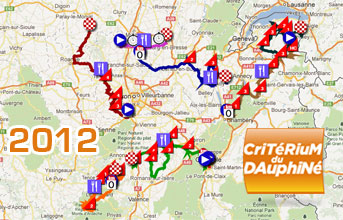 Critérium du Dauphiné 2012: the race route on Google Maps/Earth, the profiles and the time- and route schedules