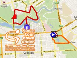 The Tour Down Under 2013 race route on Google Maps/Google Earth