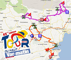 The Tour du Haut Var-Matin 2013 race route on Google Maps/Google Earth