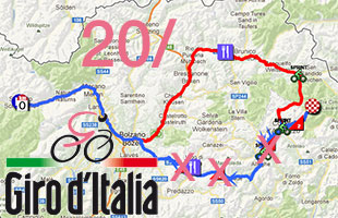 The modified race route of the 20th stage of the Giro d'Italia 2013: Silandro - Tre Cime di Lavaredo