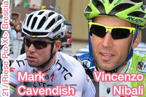 The ultima tappa of the Giro d'Italia 2013 for Mark Cavendish, Vincenzo Nibali in pink
