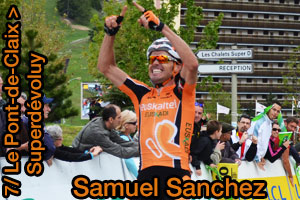 Samuel Sanchez takes the stage victory on Superdévoluy