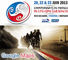 The French Championships 2013 race routes on Google Maps/Google Earth