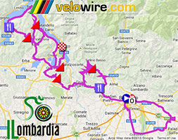 The Il Lombardia 2013 race route on Google Maps/Google Earth, profile and time- and route schedule