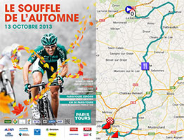 The Paris-Tours 2013 race route on Google Maps/Google Earth and the time- and route schedule