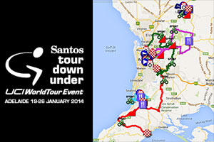 The Tour Down Under 2014 race route on Google Maps/Google Earth and stage profiles