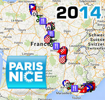 The Paris-Nice 2014 race route on Google Maps/Google Earth, profiles and itineraries