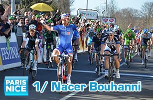 Crash and victory for Nacer Bouhanni (FDJ.fr) in the first stage of Paris-Nice 2014