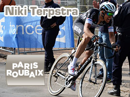 Niki Terpstra winner at the end of the cobble stones in Paris-Roubaix 2014