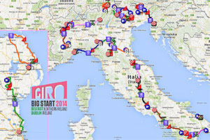 The Tour of Italy 2014 race route on Google Maps/Google Earth and all details