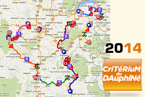 The Critérium du Dauphiné 2014 race route on Google Maps and the profiles