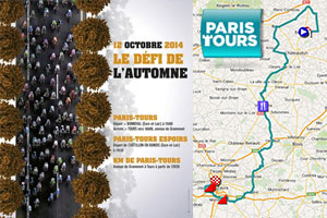The Paris-Tours 2014 race route in Google Maps/Google Earth