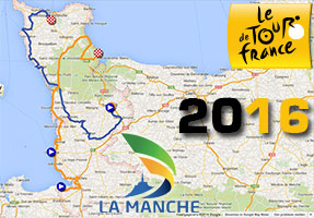 The race route of the first Tour de France 2016 stages in Google Maps/Google Earth