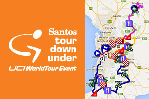 Het parcours van de Tour Down Under 2015 op Google Maps/Google Earth