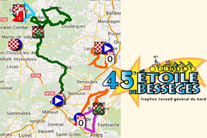 The Etoile de Bessèges 2015 race route on Google Maps/Google Earth