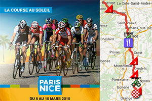 Paris-Nice 2015: a classical race route - on Google Maps/Google Earth