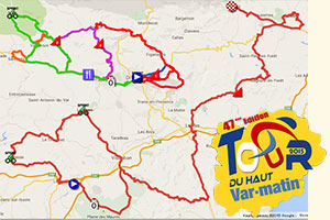 The Tour du Haut Var 2015 race route in Google Maps/Google Earth