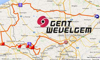 The Ghent-Wevelgem 2015 race route on Google Maps/Google Earth, its time- and route schedule and profile