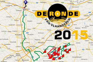 The Tour of Flanders 2015 race route on Google Maps/Google Earth