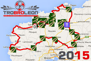The Tro Bro Léon 2015 race route on Google Maps/Google Earth and its 'ribins'