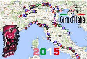 The Tour of Italy (Giro d'Italia) 2015 race route on Google Maps/Google Earth