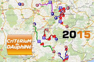 The Critérium du Dauphiné 2015 race route on Google Maps/Google Earth