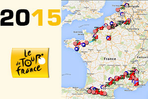 The Tour de France 2015 race route on Google Maps/Google Earth, profiles and time- and route schedules