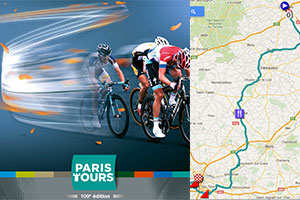 The Paris-Tours 2015 race route on Google Maps/Google Earth and the participants list