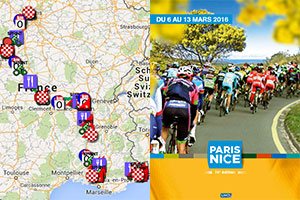 The Paris-Nice 2016 race route on Google Maps/Google Earth