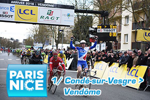 Arnaud Démare (FDJ) wins the sprint for the first stage of Paris-Nice 2016