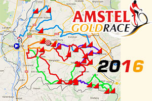 The Amstel Gold Race 2016 race route on Google Maps/Google Earth and the time- and route schedule