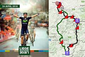 The Liège-Bastogne-Liège 2016 race route on Google Maps/Google Earth: the 102nd edition!